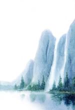Watercolor Landscape. Waterfal...