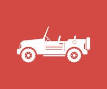 Car Icon Sign Design Red Backg...