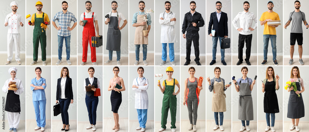 Fototapeta Collage with people in uniforms of different professions
