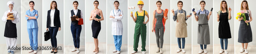 Collage with woman in uniforms of different professions Fototapete