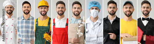 Collage with young man in uniforms of different professions