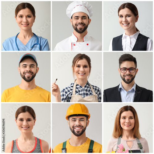 Obraz Collage with people in uniforms of different professions - fototapety do salonu