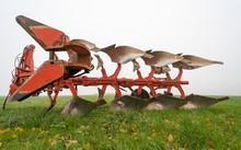 Landmaschine Pflug Auf Dem Feld