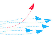 Red Plane Changes Direction. New Idea, Trend, Change, Courage, Innovation And Unique Concept Of The Path, New Thinking With Airplane, Creative Decision, Think Differently – Vector