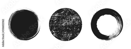 Set different circle brush strokes, hand drawn paint brush circle logo frame – v Fototapet