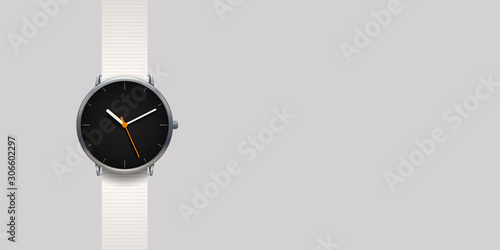 Fototapeta modern classic watch on grey background obraz