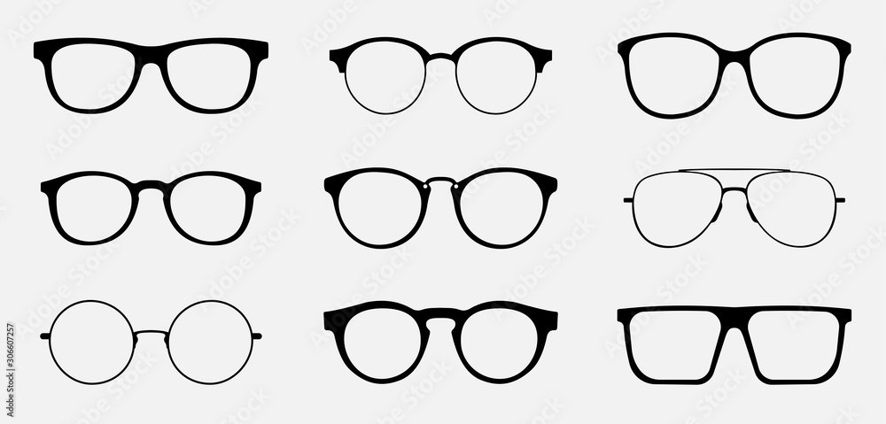 Fototapeta Glasses icon concept. Glasses icon set. Vector graphics isolated on white background.