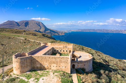 Fotografiet Turkish medieval fortress at Ancient Aptera in Chania, Crete, Greece