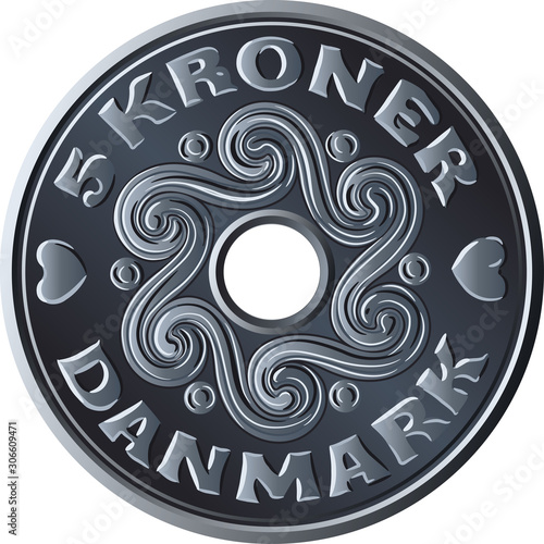 Fotografie, Obraz Danish money five krone coin with hole in the middle