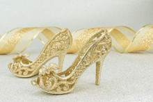Gold Christmas Shoes With Gold Ribbon