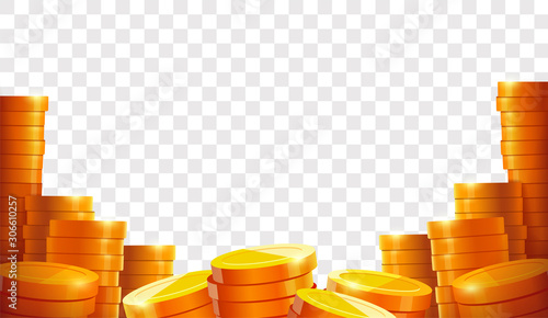 Fototapeta Stack of coins. Gold coins. Lots money. Casino coin cash or bank currency investment heap. Place for text. Template. Isolated vector illustration  obraz