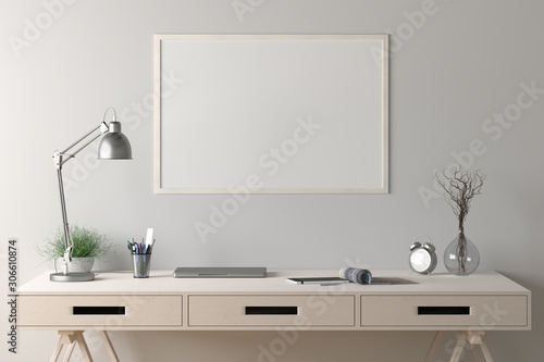 Fotografía  Workspace with horizontal poster mock up on white wall