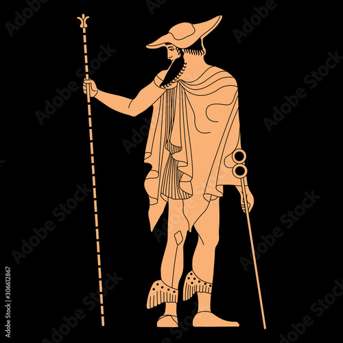 Fotografía Standing ancient Greek god Hermes with caduceus