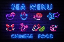 Sea Menu Neon Icons Set. Seafo...