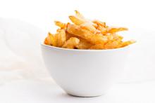 Bowl Of Potatoe Fries On A White Background
