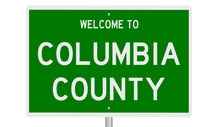 Rendering Of A Green 3d Highway Sign For Columbia County