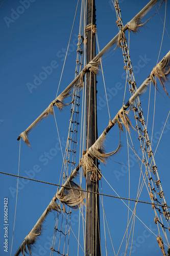Pirate ship sailing mast made of wood © stocktr