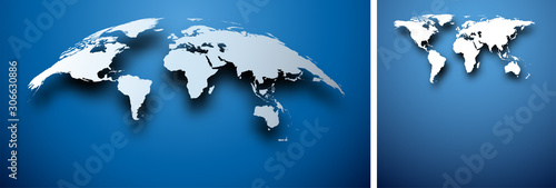 Fototapeta Abstract world map on blue. obraz