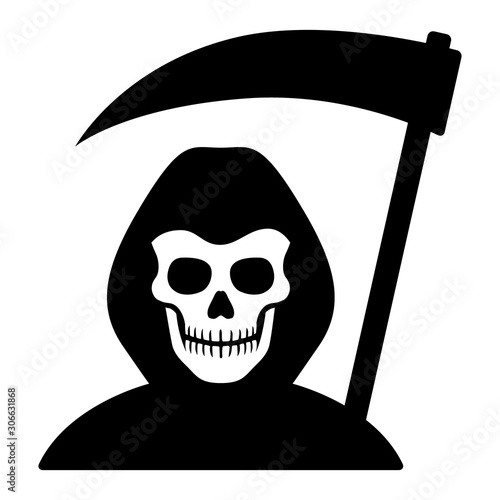 Photo  Grim reaper or death with hood and skull wielding a scythe flat vector icon for