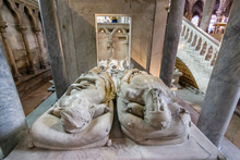 Marble Recumbent Sculptures Of Henry II And Catherine De' Medici On Their Tomb In Basilica Cathedral Of Saint-Denis, Paris