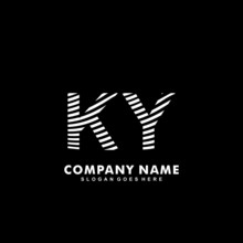 Initial Letter KY Zebra Style Wood Texture Template Logo