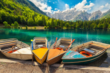 Admirable Alpine Landscape With Colorful Boats, Lake Fusine, Italy, Europe