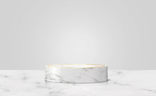 White Marble With Golden Ring Podium In  White Background. Concept Scene Stage Showcase For New Product, Promotion Sale, Banner, Discount, Presentation, Cosmetic. With Copy Space. Illustration Vector.