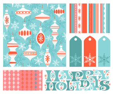 Set Of New Coordinating Holiday Seamless Patterns, Gift Tags And Design Elements For Gift Wrap, Cards And Decoration. Simple Flat Retro Style For Christmas And New Years. Vector Illustration.