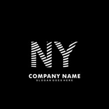 Initial Letter NY Zebra Style Wood Texture Template Logo