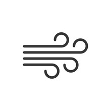 Wind Icon In Flat Style. Air V...