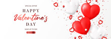 Valentine's Day Sale Promo Banner. Vector Illustration With Realistic Flying Red And White Hearts, Balls And Confetti On White Background. Festive Greeting Card, Horizontal Promo Banner.