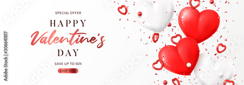Obraz Valentine's Day sale promo banner. Vector illustration with realistic flying red and white hearts, balls and confetti on white background. Festive greeting card, horizontal promo banner. - fototapety do salonu