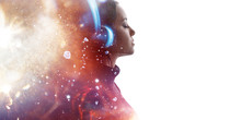Portrait Of Woman In Headphones Listening Music With Closed Eyes. Double Exposure Of Female Face And Light Flare Isolated On White Background. Digital Art. Blue Neon Light. Free Space For Text.