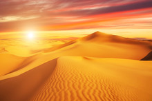 Sunset Over The Sand Dunes In ...