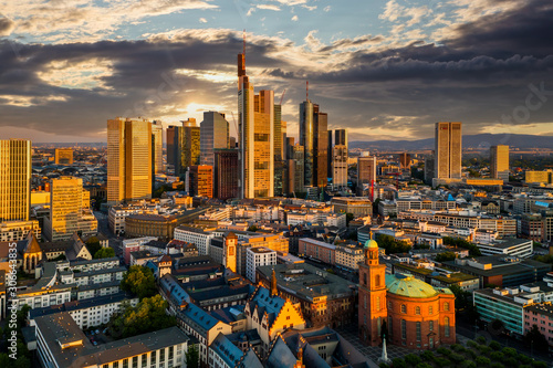 Obraz Frankfurt am Main. Cityscape image of Frankfurt am Main during sunset. - fototapety do salonu