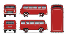 Old Red Van Vector Mockup On White Background. Isolated Mini Bus View From Side, Front, Back And Top. All Elements In The Groups On Separate Layers For Easy Editing And Recolor