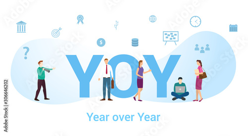 Fototapeta yoy year over year concept with big word or text and team people with modern fla
