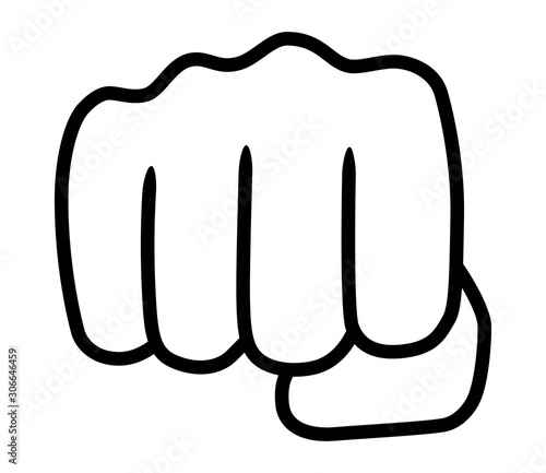 Fotografiet Punch or fist fight line art vector icon for fighting apps and websites