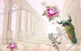 Fototapeta Do przedpokoju - 3d mural illustration tunnel  columns background with Jewelery,  Diamond, peacock and flowers  decorative interiors design wallpaper