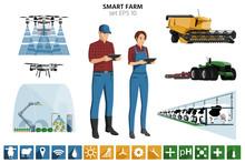 Smart Farming Set. Modern Farm...
