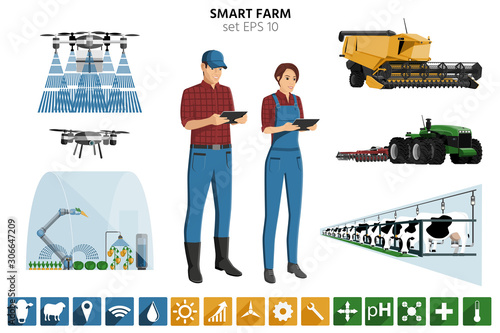 Aufkleber - Smart farming set. Modern farmers with digital tablet, autonomous harvester, tractor, drone, greenhouse with robot, automated milking. Elements for design and infographics. Vector illustration EPS 10