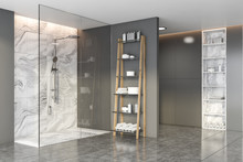 Grey And Marble Bathroom With ...