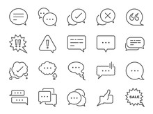 Chat And Quote Line Icon Set. Included Icons As Bubble, Talk, Social Media Message, Discuss, Speech, Comment And More.