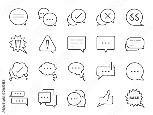 Obraz Chat and quote line icon set. Included icons as Bubble, talk, Social media message, discuss, speech, comment and more. - fototapety do salonu