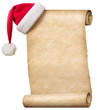 canvas print picture Paper scroll and christmas Santa's hat isolated on white