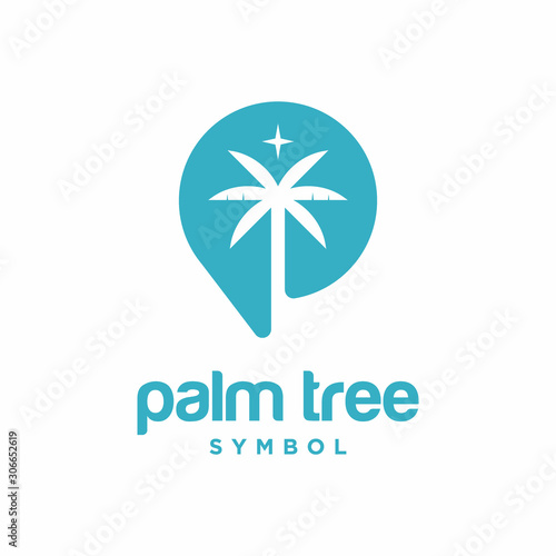 Palm Tree Symbol Logo Template Wall mural