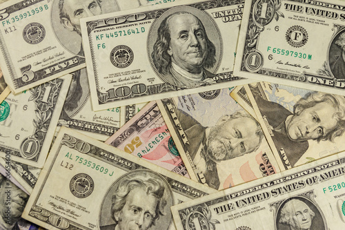 Fotografía  Background of different us dollar banknotes