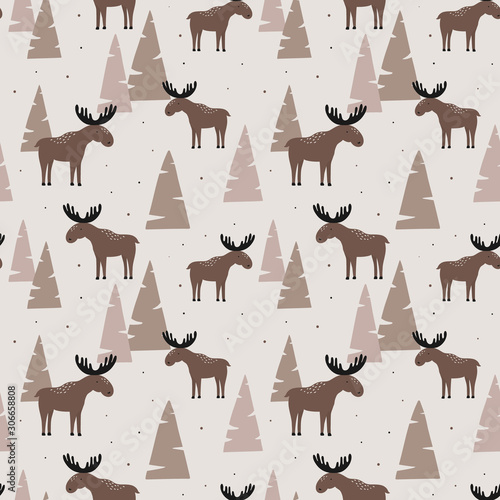 Fotografie, Obraz Seamless pattern with elk in a wood