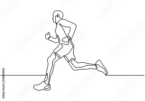 Continuous one line drawing of person running during sport marathon or sprint game. Champion player doing jogging exercise vector minimalism.