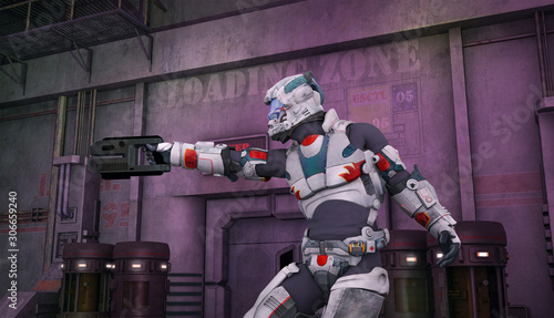soldato futuristico con pistola Canvas Print